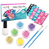 Maydear Glitter Tattoo Kit with 6 Large Glitters & 40 Stencils for Temporary Tattoos Children Temporary Tattoos Kids Teenager Adult Party Accessory & Body Art (6-Color)