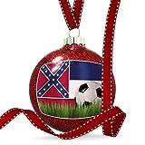 Christmas Decoration Soccer Team Flag Mississippi region America (USA) Ornament