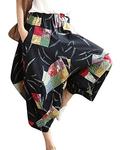 Eleganti Pantaloni Sciolto Vintage Libero marca Lanterna Estivi Fashion Stile Donna Tempo 4 Pantaloni Palloncino Pantaloni Colour Di Stampato di Aladin Etnico Pantaloni Pantaloni Hippie A Mode Casual Harem Iq0waxI4C
