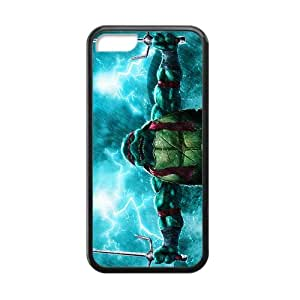 Custom TMNT Teenage Mutant Ninja Turtles Cases for iPhone 5C TPU (Laser Technology) covered with an easy-to-grip fabric