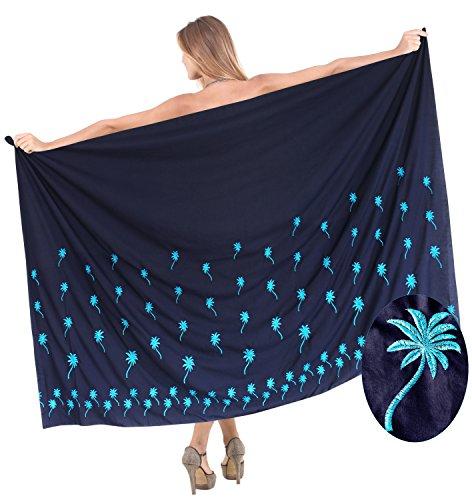 rayón suave ropa de playa bordado falda de hendidura del bikini azul encubrir vestido pareo