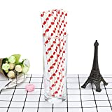 Pack of 25 Disposable Paper Straw Heart Pattern Biodegradable Drinking Paper Straw Paper Straw for Juice, Milk Christmas Party Supplies - Eco-Friendly (B)