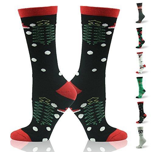 Christmas Socks, Gmark Women's Mens Vintage Super Thick Warm Winter Socks Christmas Trees With Polka Dots,Black (Socks For Christmas Mens)