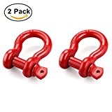 "Image of Shackles 3/4"" (2 PACK) Reteck D ring Shackle Rugged 4.75 Ton (9,500 Lbs) Capacity Bow Screw Heavy Duty D Ring for Jeep Vehicle Recovery, Red"