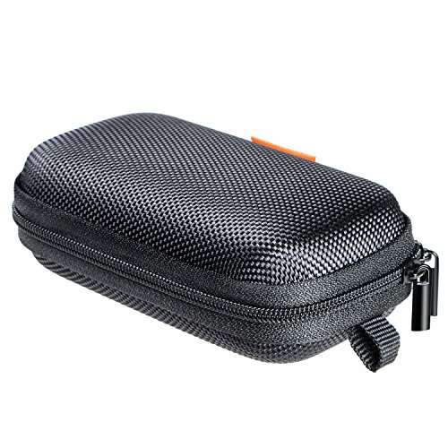 GLCON Rectangle Shaped Portable Protection Hard EVA Case,Mesh Inner Pocket,Zipper Enclosure Durable Exterior,Lightweight Universal Carrying Bag Wired/Bluetooth Headset Charger Change Purse,Black