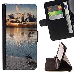 BullDog Case - FOR/Sony Xperia Z1 L39 / - / Nature Beach Star /- Monedero de cuero de la PU Llevar cubierta de la caja con el ID Credit Card Slots Flip funda de cuer