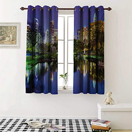 shenglv City Drapes for Living Room North Carolina Marshall Park United States American Night Reflections on Lake Photo Curtains Kitchen Window W96 x L72 Inch Multicolor
