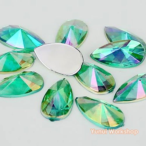 Teardrop Face - (Light Green AB, 9mm x 18mm, 50pcs) Teardrop Shape Pointed Face Acrylic Flat Back Rhinestones Cabochons Deco Scrapbooking Nail Craft - Iridescent