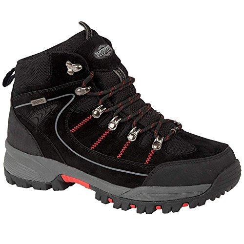 MENS RAE PREMIUM LEATHER UPPER WATERPROOF WALKING/HIKING TREKKING BOOT Black / Red JRb8fL0