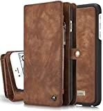 iPhone 6s Plus Detachable Wallet Case XRPow 2In1 Multi-Functional Removable Magnetic Back Cover 11 Card Slots & 3 Cash Pocket Premium Folio Zipper Wallet Case for iPhone 6 Plus /6s Plus 5.5' BROWN