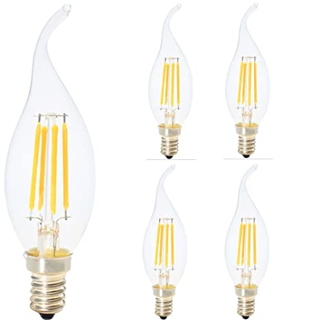 Juego de 4 bombillas LED filamento E14 llama 4 W equivalencia de incandescente 40 W