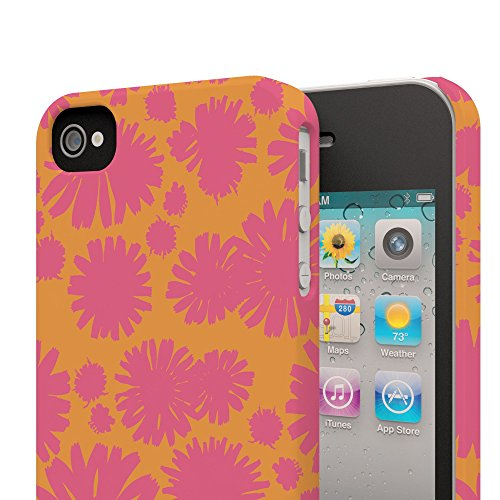 Koveru Back Cover Case for Apple iPhone 4/4S - Red Twinkle Flowers