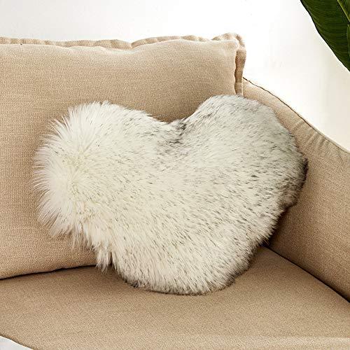 Quaanti Heart Shaped Throw Pillow Cushion Plush Pillows Gift Home Sofa Decoration Colorful Soft Sweet Love Heart Shaped Nap Fluffy Throw Pillows Back Cushion for Lover Kids 16x20 Inch 40x50cm (E)
