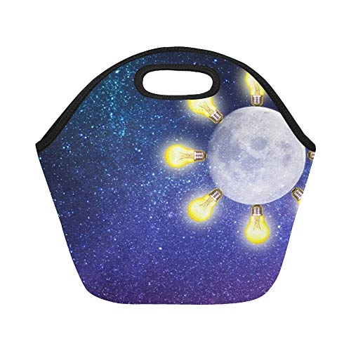 Explorer Night Sky (Insulated Neoprene Lunch Bag Light Flash Night Dream Starry Sky Creative Large Size Reusable Thermal Thick Lunch Tote Bags For Lunch Boxes For Outdoors,work, Office, School)
