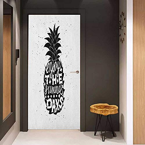 Onefzc Front Door Sticker Tropical Motivational Slogan on a Exotic Pineapple Indigenous Hawaiian Fruit Pattern for Home Decor W17.1 x H78.7 Black and White