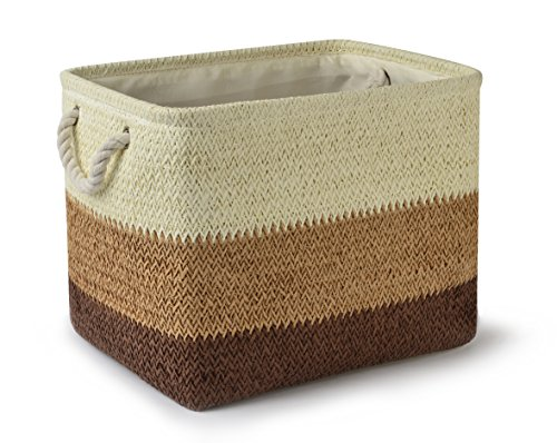 Perber Storage Bin Baskets Decorative Collapsible Rectangular Toy Storage Cube with Handles for Clothes Storage Box,Closet, Kids Toys,Pet Toys,Baby Clothing, Bedroom,Office,Closet Organizer-Brown - ★Made of Natural Paper Rope.Environmental materials don't harm you and your family. ★spacious storage space can hold more toys and clothes.It is easy to fold when you are not using .You will save a lot of space. ★LARGE BIN- 15.7L*12.2W*13.4H(inch) Weight:18(oz) - living-room-decor, living-room, baskets-storage - 51ABwwPGQNL -