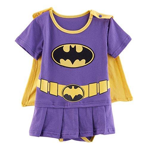 Kiddomania Baby Toddler Boy/ Girl Superhero Bodysuit Romper Onesie Costume (80 (6-12 Months), Purple (Batgirl Toddler Costume)