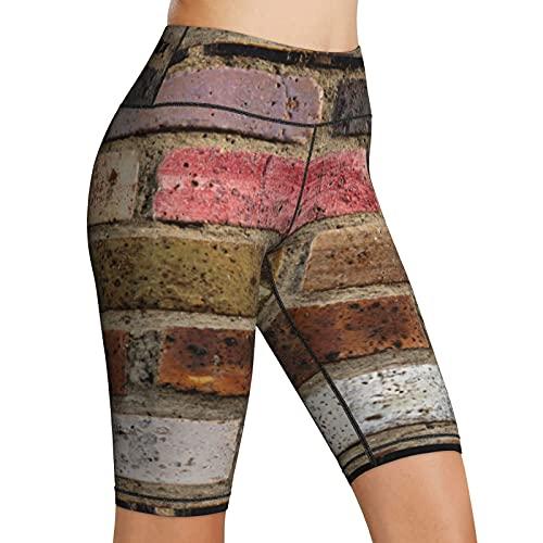 Inaayayi Hoge taille Yoga Shorts metselwerk textuur oude bakstenen stenen stenen metselwerk vrouwen fiets shorts yoga…