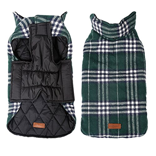 Kimfoxes Pet Dog Jacket Vest Windproof Garment Waterproof Snowproof Clothing Waistcoat Winter Warm Clothes Reversible British Style Grid Plaid Dog Coat for Medium Large Dogs(Green L) by Kimfoxes