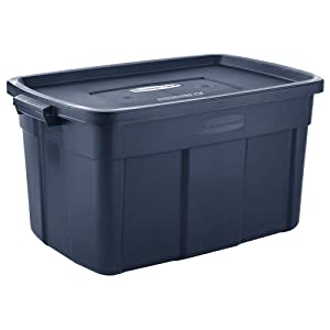 Rubbermaid Roughneck Roughneck Totes 31 Gal Pack of 3 Rugged, Reusable, Set of Large Storage Containers, Dark Indigo Metallic