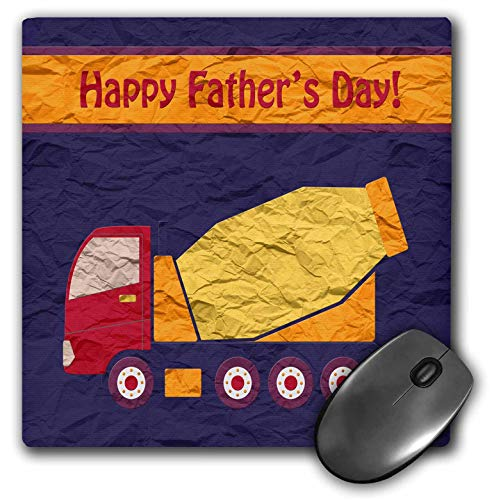 - 3dRose Beverly Turner Fathers Day Design - Cement Truck, Happy Fathers Day, Crumpled Effects, Yellow, Red, Orange - Mousepad (mp_239599_1)