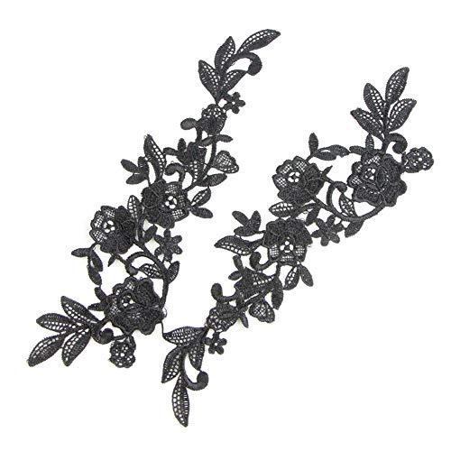 Yontree Floral Venise Lace Applique Bridal Wedding Applique Black 3 Pairs