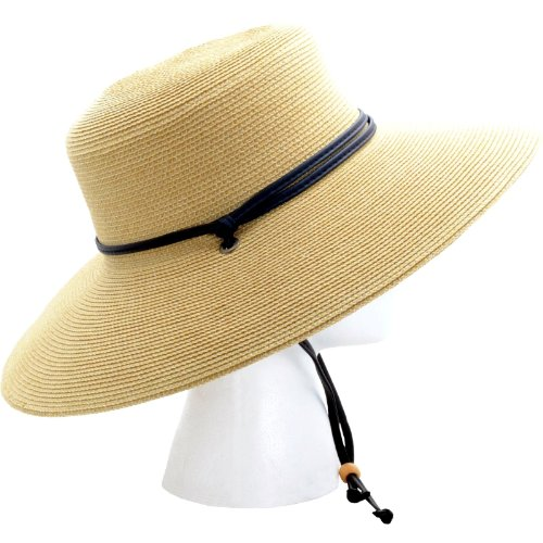 67d1b041 Sloggers Women's Wide Brim Braided Sun Hat with Wind Lanyard - Light Brown  - UPF 50