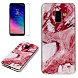 for Samsung Galaxy A8 2018 Marble Case with Screen Protector,Unique Pattern Design Skin Ultra Thin Slim Fit Soft Gel Silicone Case,QFFUN Shockproof Anti-Scratch Protective Back Cover - Red Texture