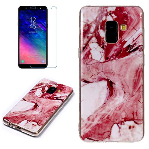 for Samsung Galaxy A8 2018 Marble Case with Screen Protector,Unique Pattern Design Skin Ultra Thin Slim Fit Soft Gel Silicone Case,QFFUN Shockproof Anti-Scratch Protective Back Cover - Red Texture by QFFUN (Image #4)