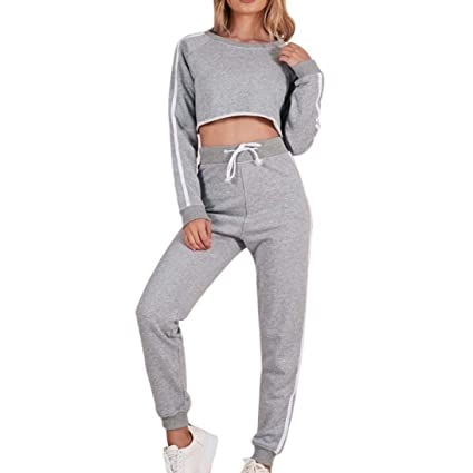 363feb9e408c94 SUKEQ Women 2 Piece Outfit Fashion Round Neck Long Sleeve Crop Top + Pants  Set Casual