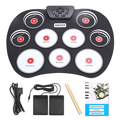 Electronic Drum Set, Roll Up Drum Pad Practice 9 Keys Electric Drum Built-in Headphone Speaker with Foot Pedals and Drumsticks, Birthday Christmas Gift for Kids (USB Powered)