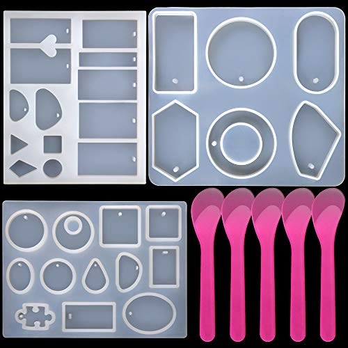 3 Pack Jewelry Casting Molds, 1 Bigger 6 Styles Pendant Mold & 2 Multiple Styles Resin Molds with Hanging Hole, Come with 5 PCS Mixing Spoons