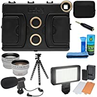 Melamount MM-IPAD PRO 9.7 Video Stabilizer Pro Multimedia Rig for Apple iPad PRO 9.7 with LED Video Light + Microphone + Tripod + + Tele/Wide Lens Kit