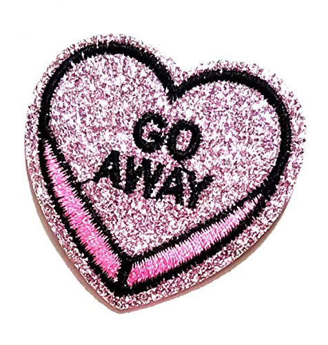 2'' X 2'' Beautiful Pink Heart Go Away Sequin Shine Shiny Patch Logo Jacket t-Shirt Jeans Polo Patch Iron on Embroidered Logo Sign Badge Comics Cartoon Patch by Tour les jours Shop