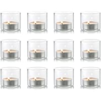 Nuptio Clear Glass Votive Candle Holders, Set of 12 Mini Tealight Holder, 1.8 inches x 1.57 inches