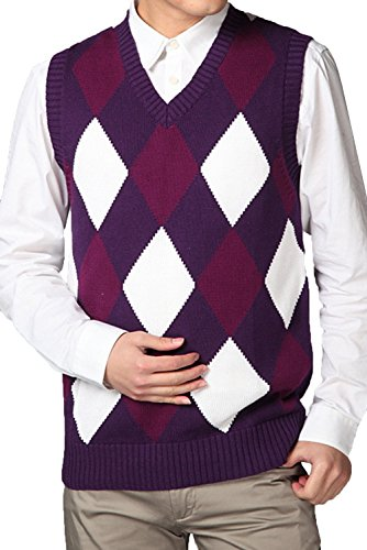 JOKHOO Men's Argyle V-Neck Sweater -