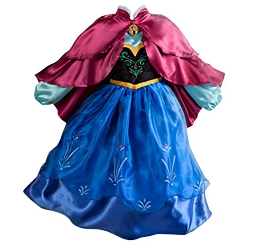 [Girls Frozen Snow Romance Long-sleeved Snowflake Snow Princess Dress Blue] (Ariel Blue Dress Costumes)