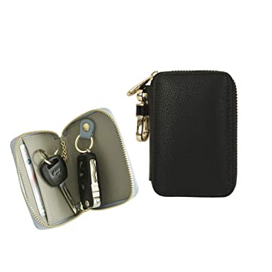 5a1d8e82a8d6ef Amazon.com: Genuine Leather Car Smart Key Holder Bag Keychain Wallet Case  with Card Holder Black: Shoes