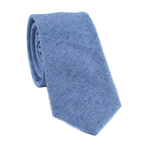 - Levao Men's Cotton Skinny Necktie Solid Color Tie 210717 Denim Blue