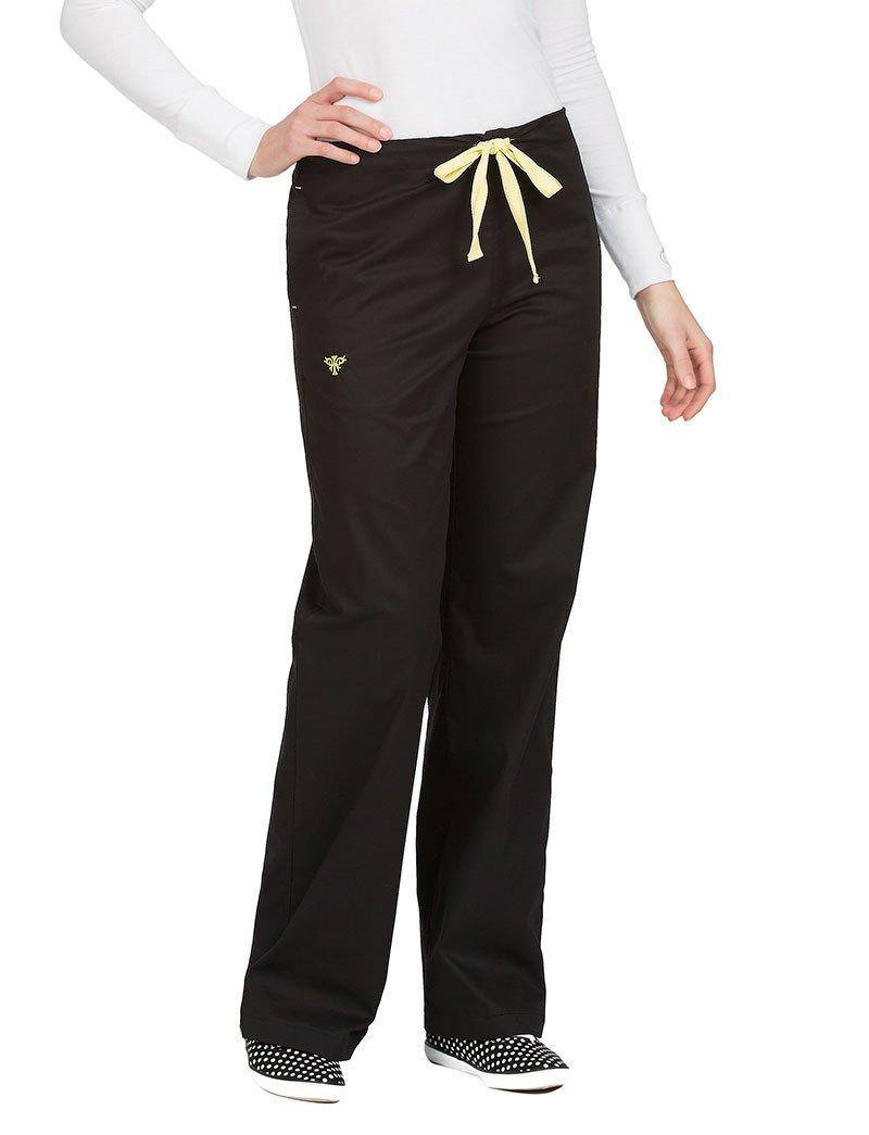 Med Couture Women's Signature 8705 Drawstring/Elastic 3 Pocket Scrub Pant- Black/Sunshine- Large Petite