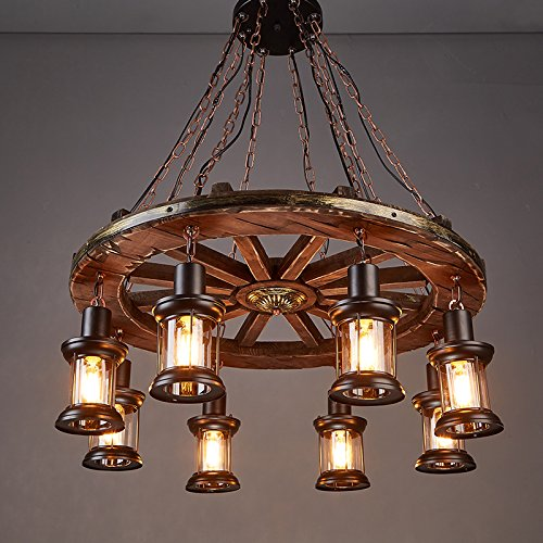 Chandelier Style Country (LightInTheBox 8 Heads Industrial Loft Style Amercian Countryside Vintage Wooden Round Wheel Chandelier Lamp for the Foyer / Coffee Room / Bar Decorate Pendant Lamp)