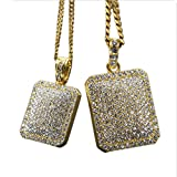 xcoser Mens Hip Hop Necklace Souvenirs Bling Crystal Rhinestone Pendants Gifts