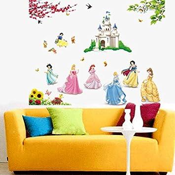 adhesivos vinilos decorativos pared princesas castillos de disney removible para nias dormitorio