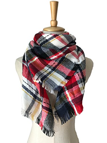 Multicolor Children Blanket Scarf Kids Winter Warm Wrap Shawl White Red Plaid
