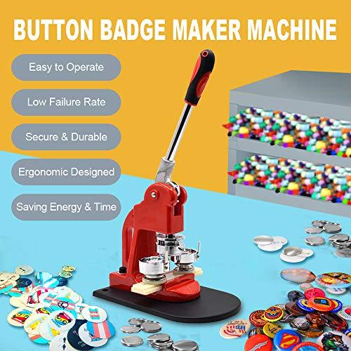 Button Maker Machine 37mm 1.5 inch Button Badge Maker Pins Punch Press Machine Aluminum Frame 300pcs Free Button Parts + Circle Cutter (37mm 1.5inch)