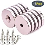 KYGNE 10 Pack Neodymium Disc Countersunk Hole Magnets, Strong, Permanent, Rare Earth Magnet with 10PACK Screws for Crafts