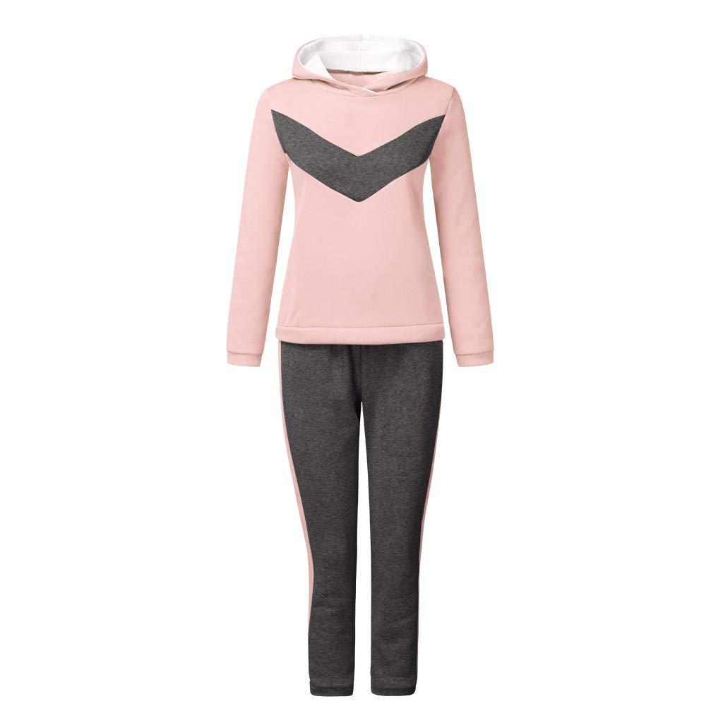 Womens Tracksuit Set Casual Thicken Hooded Sweatshirt Jogger Sweatpants Solid Patchwork Warm Sports Suit