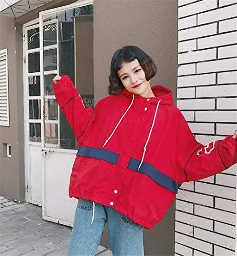Donna Rot Manica Giacca Giaccone Lunga Coat Fidanzato Autunno Vintage Moda Baggy Unisex Incappucciato College Cappotto d6q0w4d