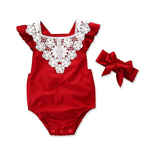 Baby Girl Romper 2PCS Short Petal Sleeve Lace Backless Elastic Waist Red Jumpsuits Headband 0-24M (12 M, Red)