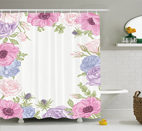 Ambesonne Anemone Flower Shower Curtain, Hand Drawn Framework with Fresh Summer Flora Bridal Wedding Theme, Fabric Bathroom Decor Set with Hooks, 70 inches, Pink Light Blue Green